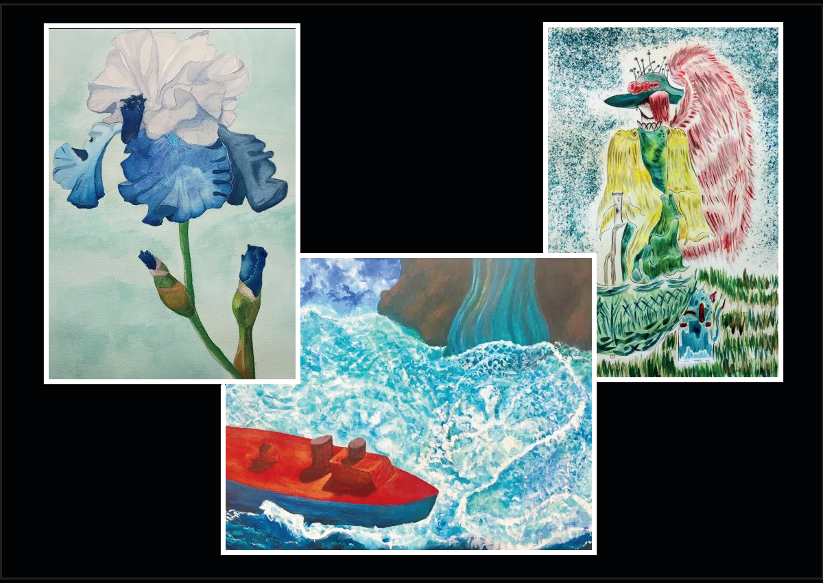 3 images of art created by the senior show participants, one is a blue and white flower, another a small boat and vase and third one is a female figure with pins in her hat and angel wings looking at herself in a mirror.