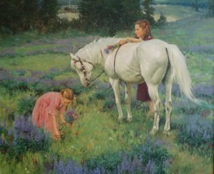 2 young girls gathering flowers in a field, older girl is holding flowers and standing behind a white horse.