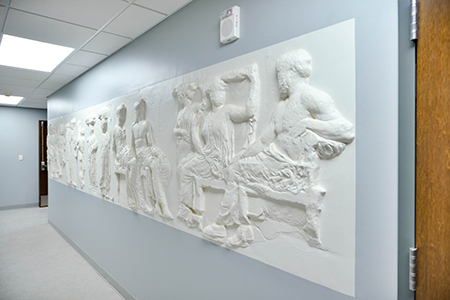 relief inside the Performing Arts Center